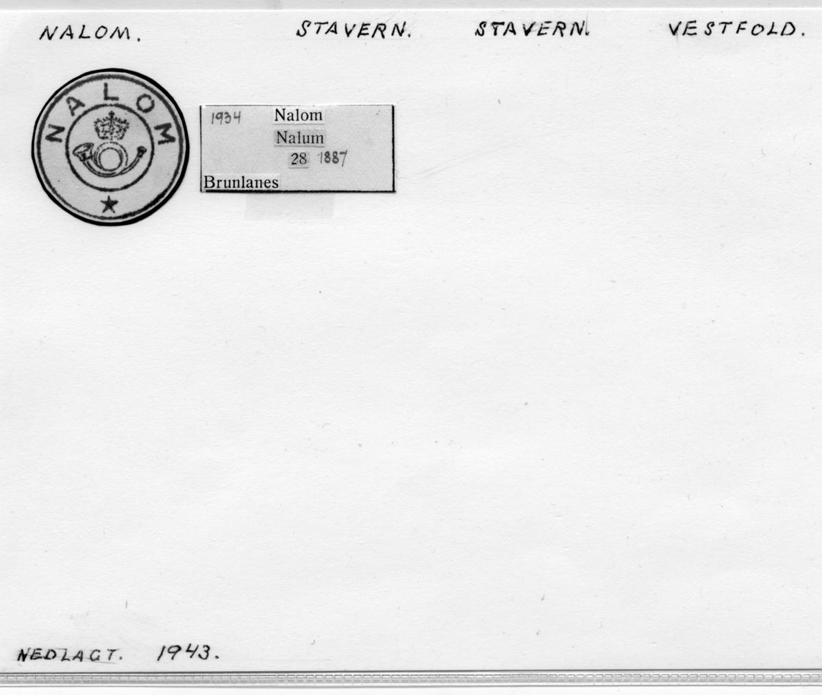 Stempelkatalog Nalom, Stavern, Stavern kommune, Vestfold