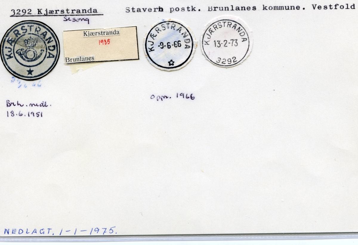 Stempelkatalog 3292 Kjærstranda, Stavern, Brunlanes, Vestfold