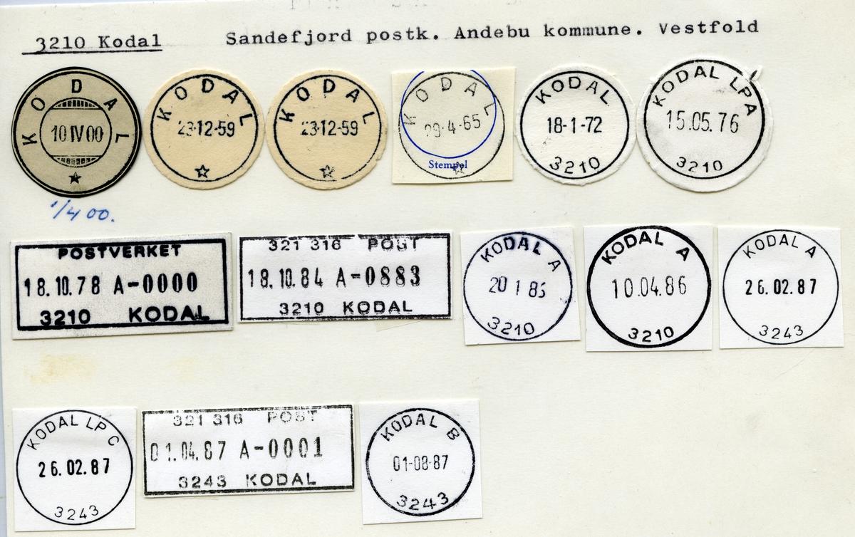 Stempelkatalog 3210 Kodal, Sandefjord, Andebu, Vestfold