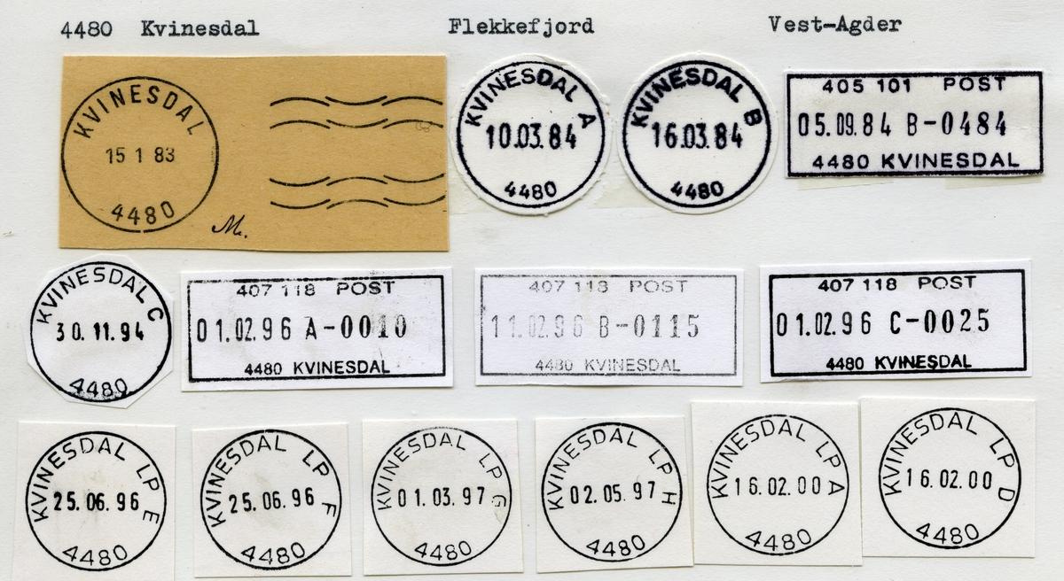 Stempelkatalog 4480 Kvinesdal (Liknæs, Liknes),  Flekkefjord, Vest-Agder