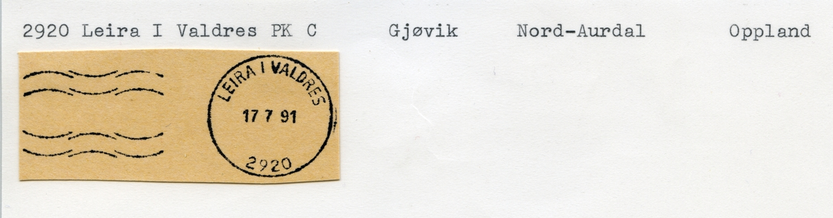 Stempelkatalog 2920 Leira i Valdres (Leira station, Leira stasjon), Fagernes, Nord-Aurdal, Oppland
