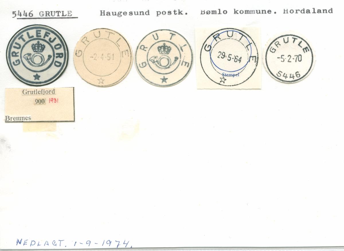 Stempelkatalog 5446 Grutle (Grutlefjord), Haugesund, Bømlo, Hordaland