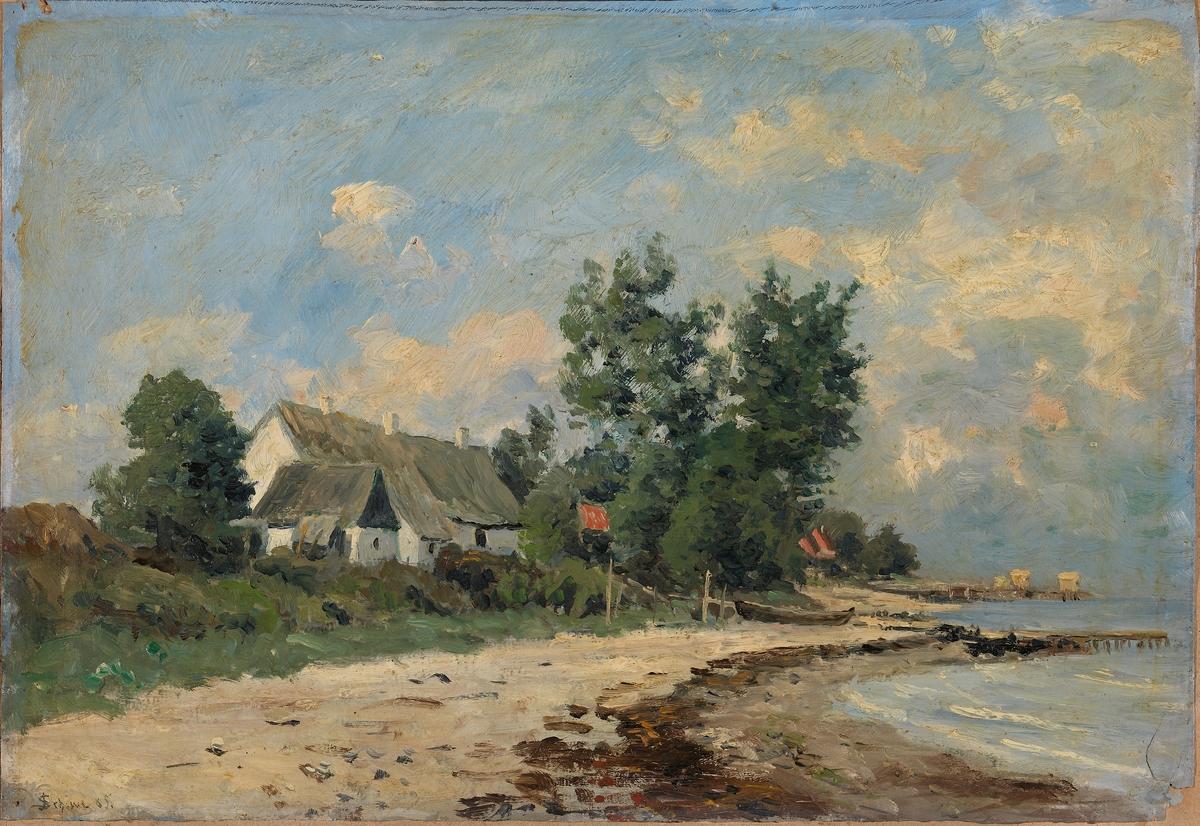 Hus ved stranden [Maleri]