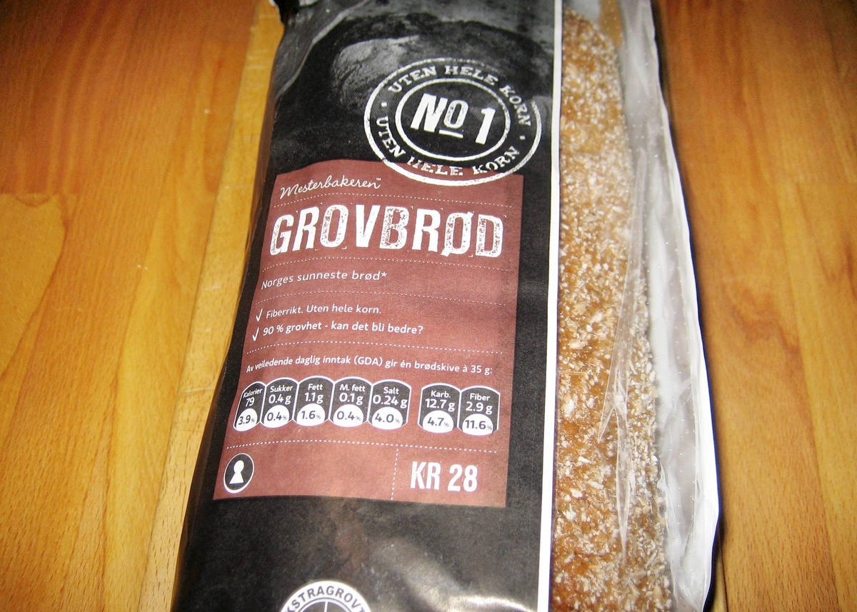 Motivet på brødposen er to brød i sort/hvit.