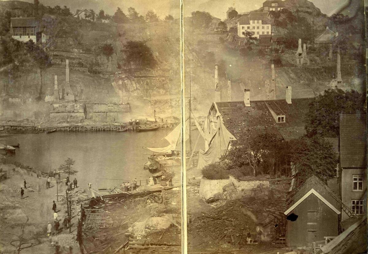Fra John Ditlef Fürst album. Branntomtene etter brannen 1868 - AAks 44- 4 - 7 Bilde nr 70b - del av triptych.