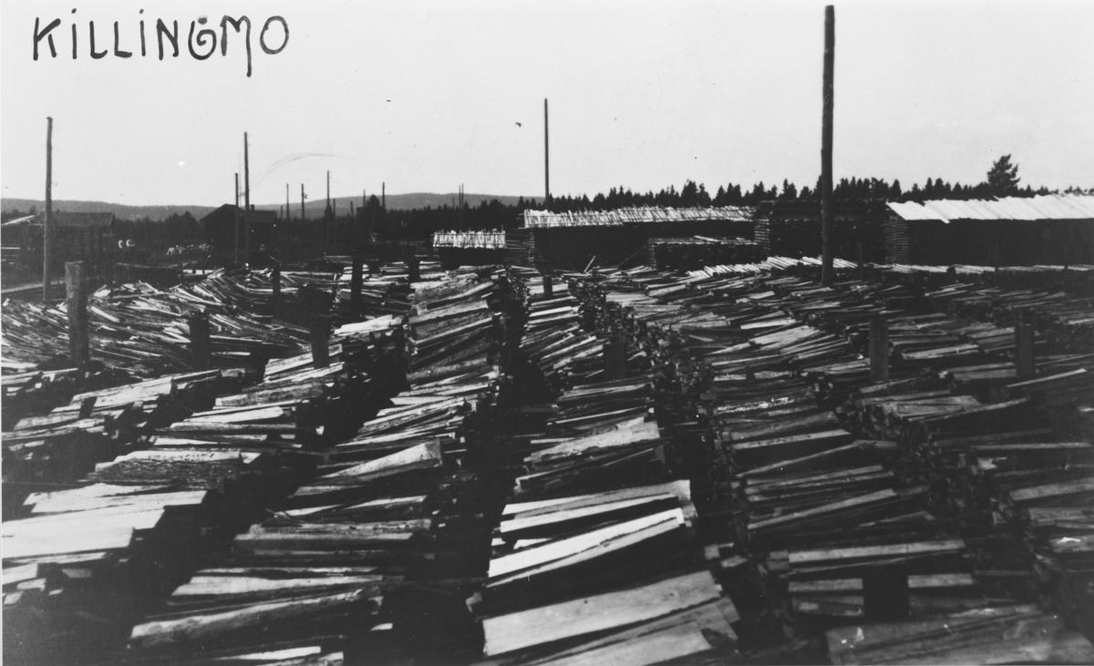 Ved- og plankelagre som venter på transport, trolig under krisen i 1918.