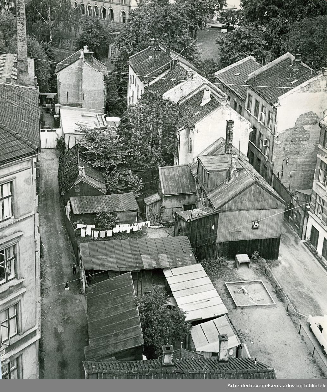 Slåmotgangen og deler av Vaskegangen. Fra Christian Krohgs gate ned mot Akerselva, .september 1961