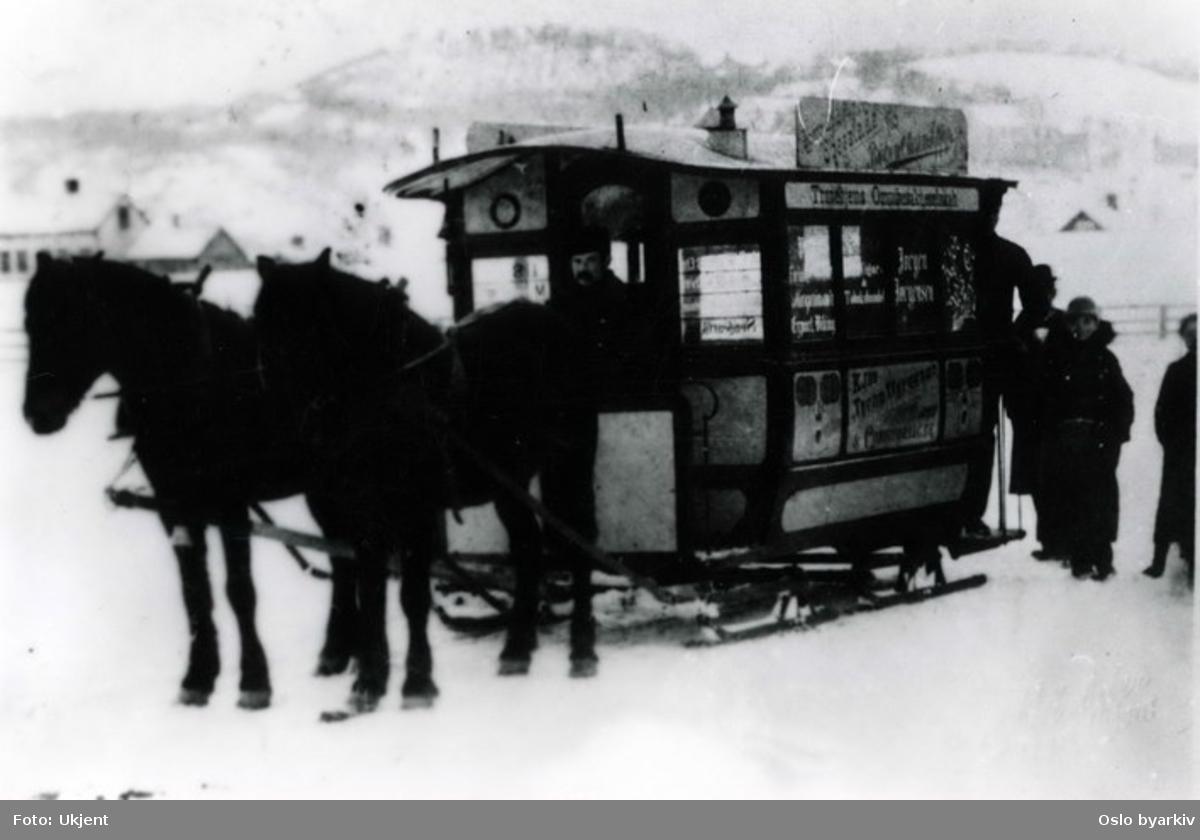 Omnibuss på meier fra Trondheims Omnibusaktieselskab.