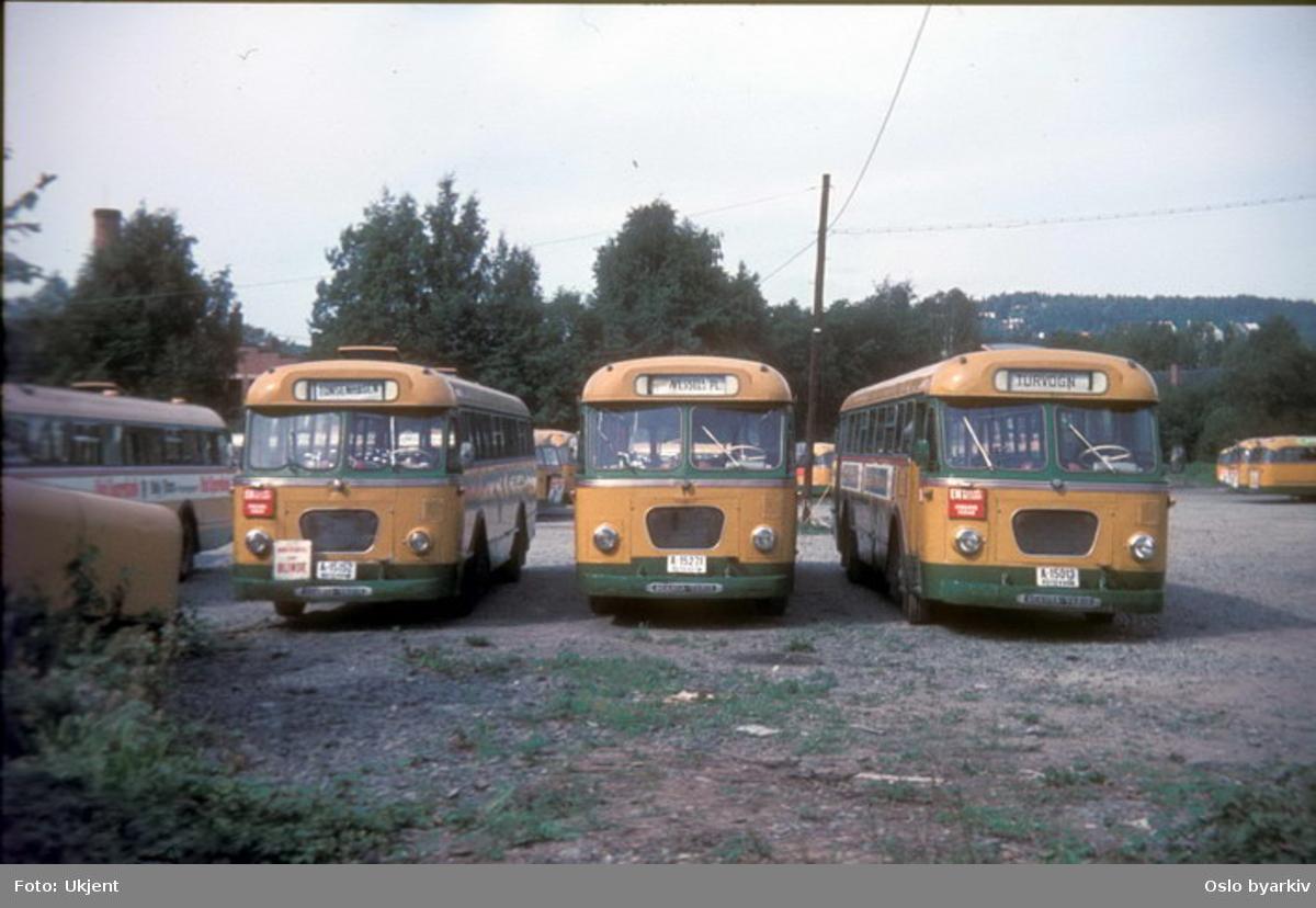 Busser, Ing. M.O. Schøyens Bilcentraler (SBC) A-15152, A-15271 og A-15013 på Skøyen SBC parkering.