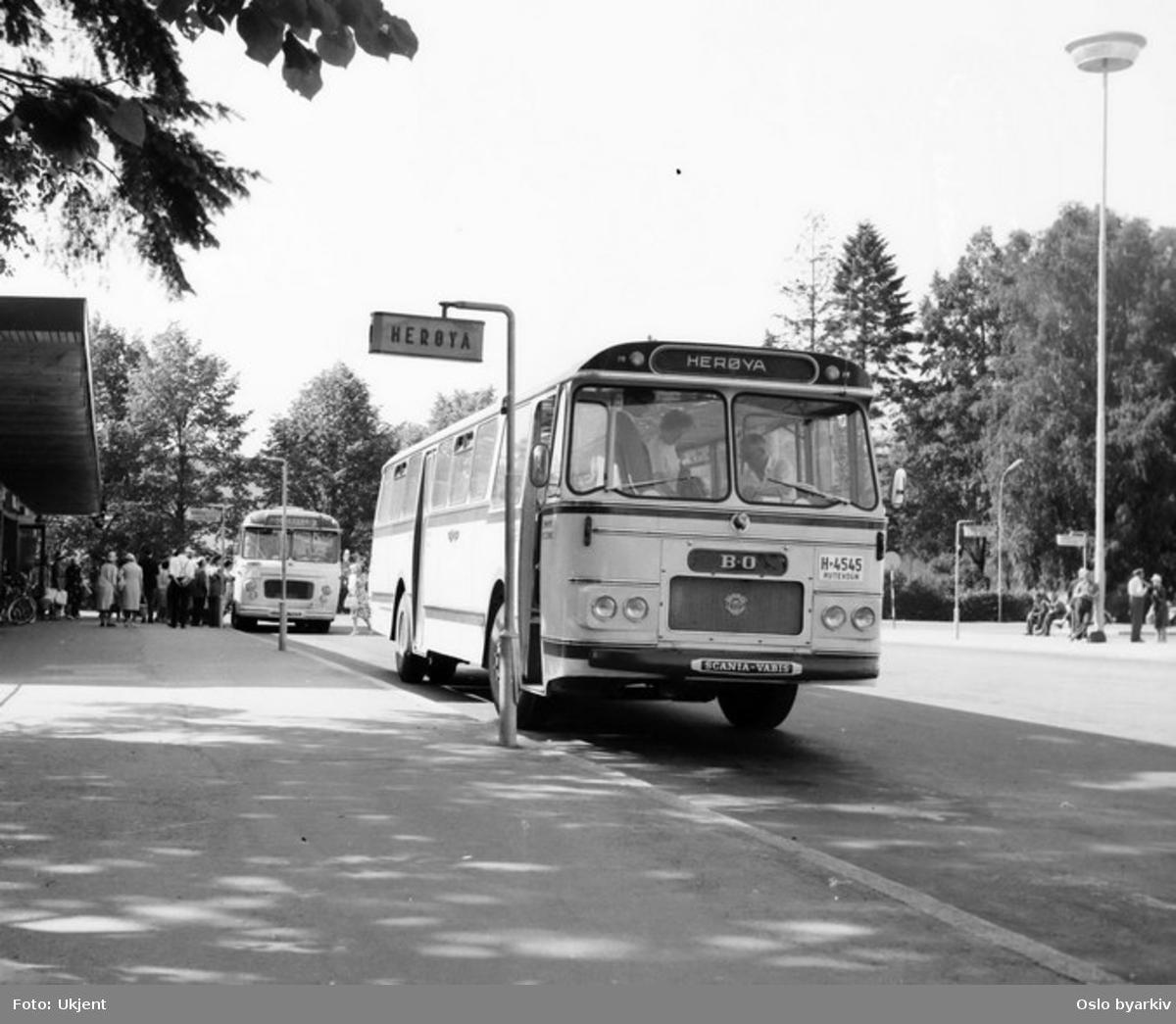 Bussrute til Herøya, Scania Vabis, nr. A-4545, BO-bussene i Skien. Turistgrupper går ut av bussen bak.