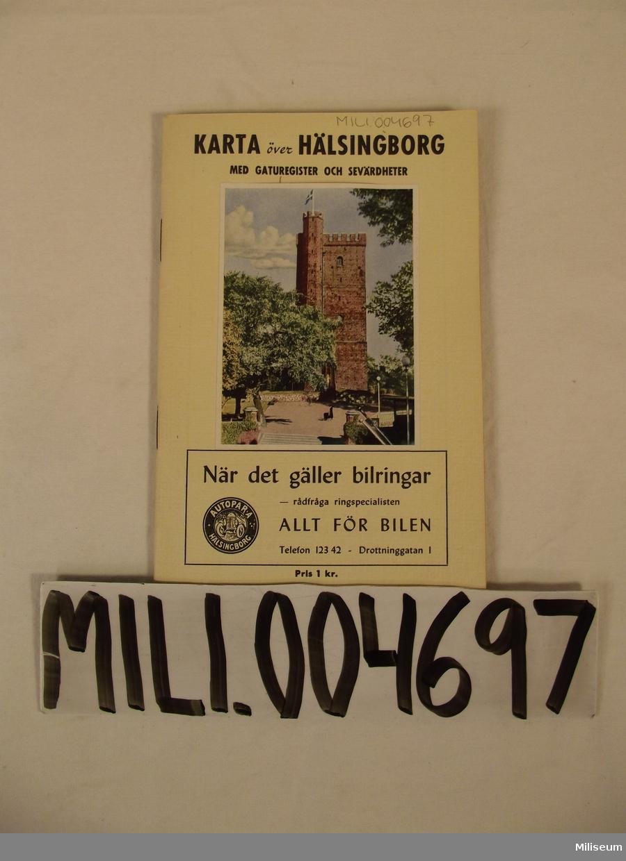 Karta, Hälsingborg med gaturegister och sevärdheter.