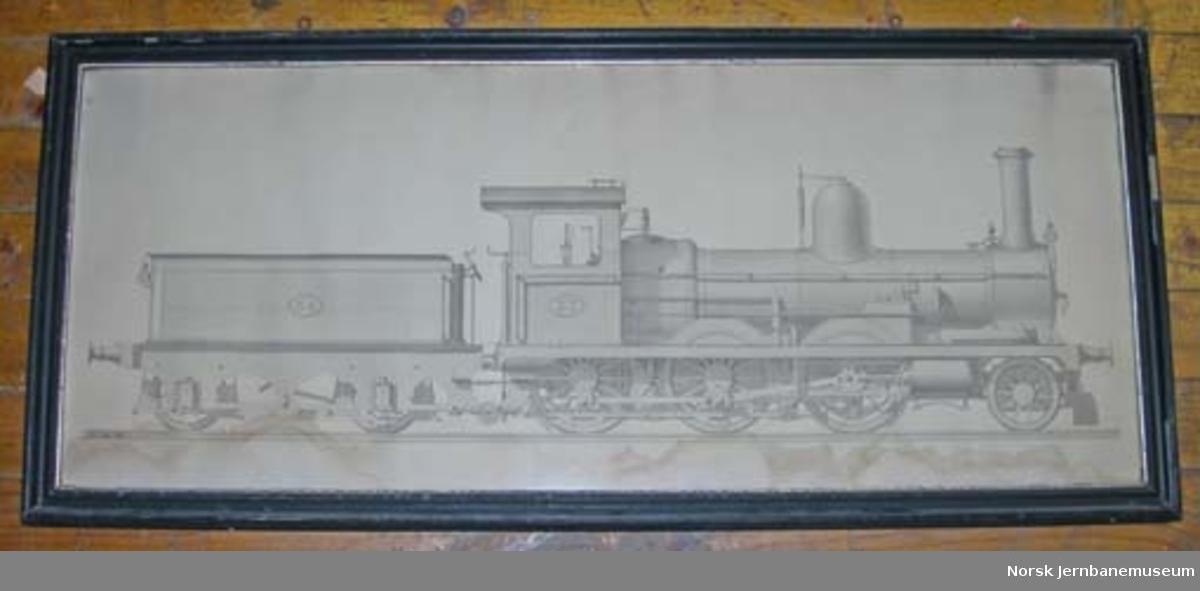 Tegning i glass og ramme : Hovedbanens damplokomotiv nr. 32