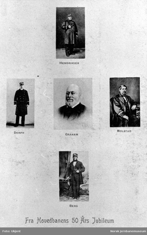 Postkort fra Hovedbanens 50 års-jubileum med bilder av Hendriksen, Dorph, Graham, Molstad og Berg