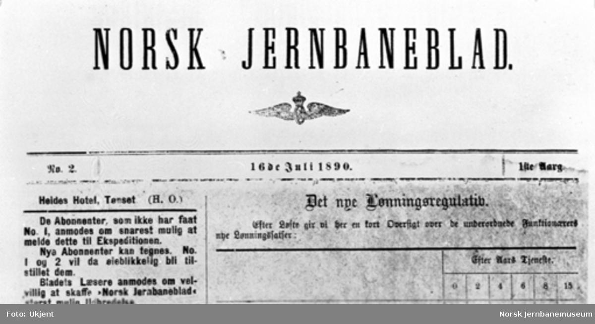 """Repro av tittelblad """"Norsk Jernbaneblad"""""""