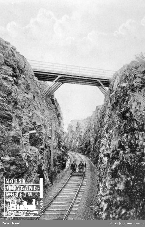 Skjæring og vegovergang i Grubåsen mellom Åsen og Ronglan