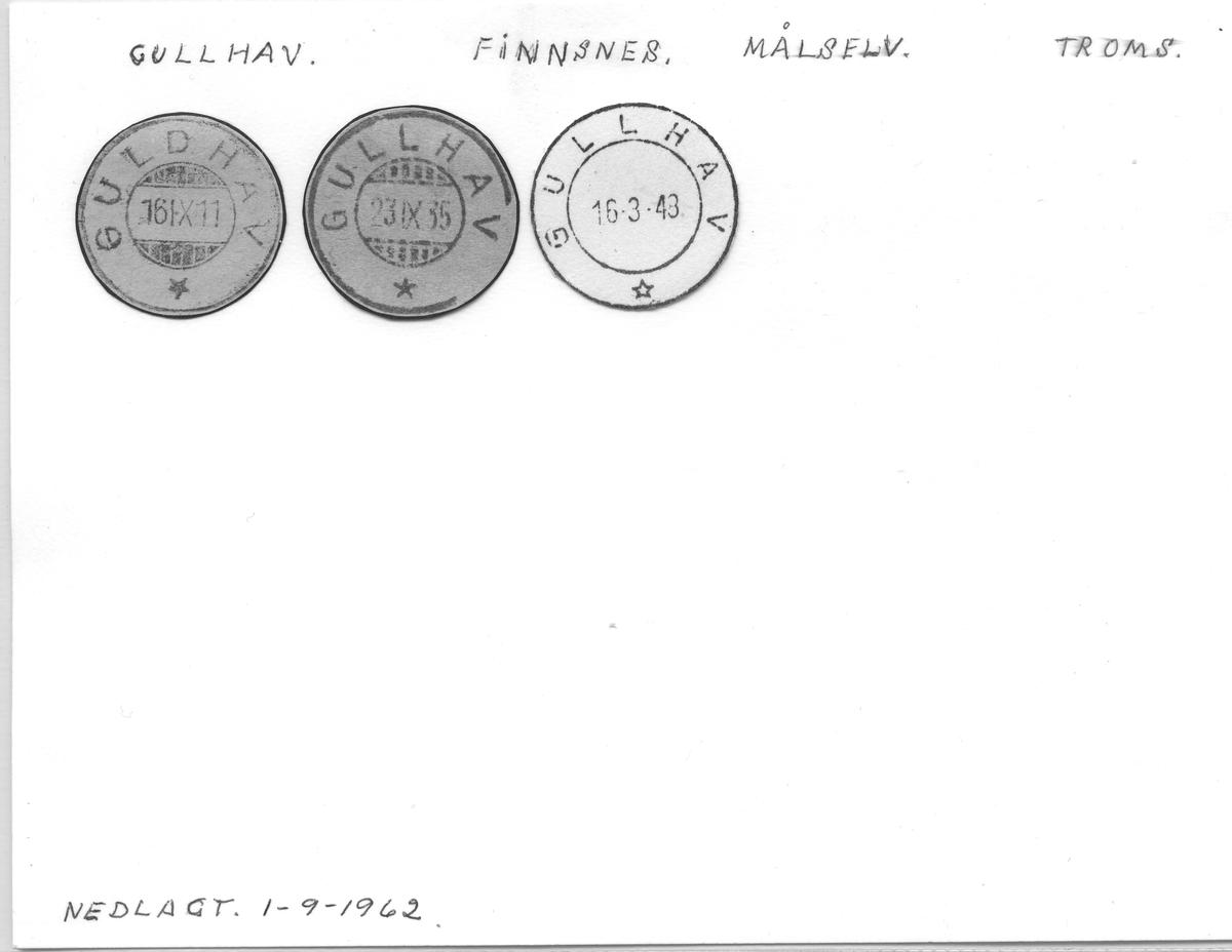 Stempelkatalog Gullhav (Guldhav), Finnsnes, Målselv, Troms