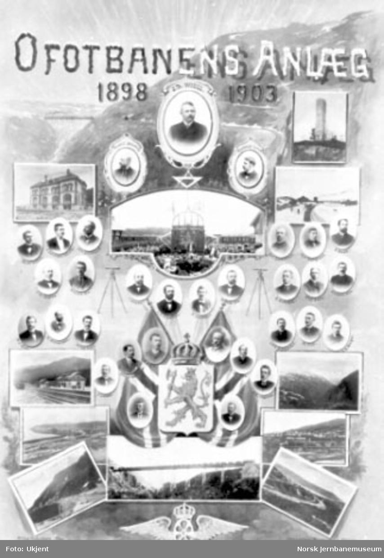 """Fotomontasje """"Ofotbanens Anlæg 1898-1903"""" med bilder fra anlegget i anledning Ofotbanens åpning"""