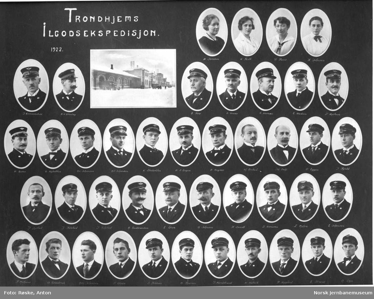 Fotomontasje med de ansatte ved ilgodsekspedisjonen på Trondheim stasjon