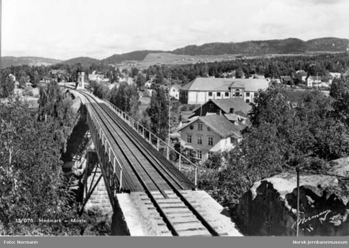 Moelva jernbanebru med stasjonen i bakgrunnen