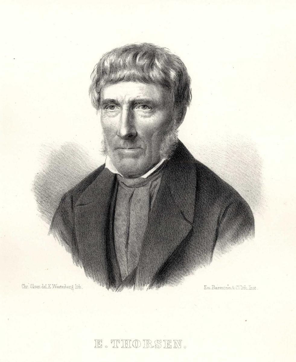 Portrett, brystbilde av E. Thorsen.
