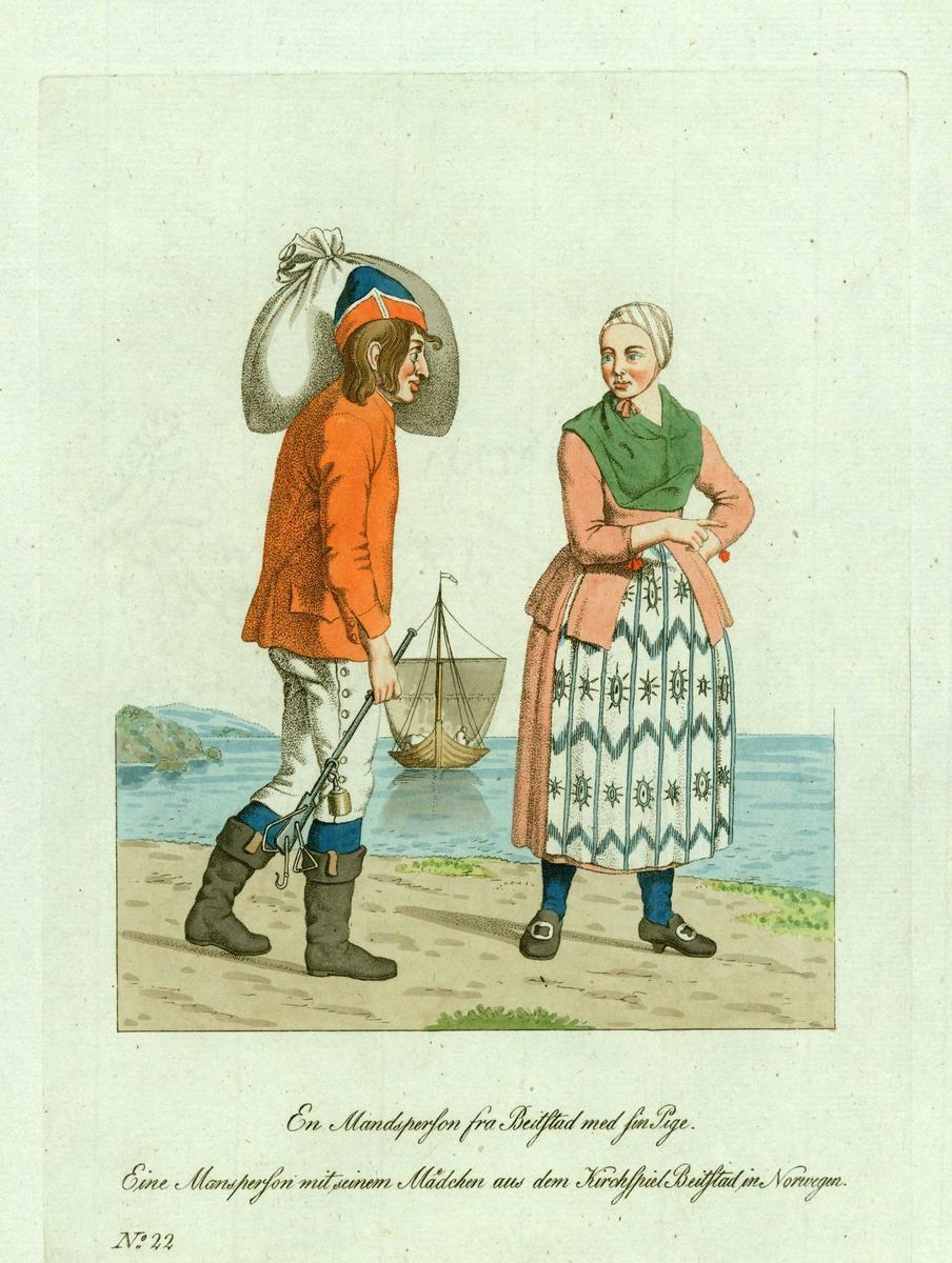 Mann og kvinne (jente) i folkedrakter fra Beitstad, Steinkjer, Nord-Trøndelag, i sjøkanten, han med bismer i høyre hånd og sekk over skulderen, trebåt under råseil i bakgrunnen.