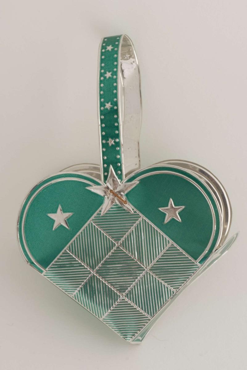 Juletrekurv i metallfolie med hank, sølv og grønt