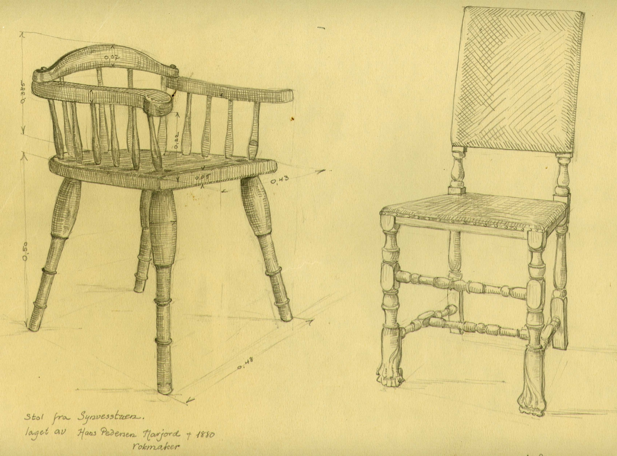 Herman Semmelmanns tegning av to stoler, Sønvisgard,  Narjordet, Os, Hedmark. Laget av av rokkmaker Hans Pedersen Narjord.