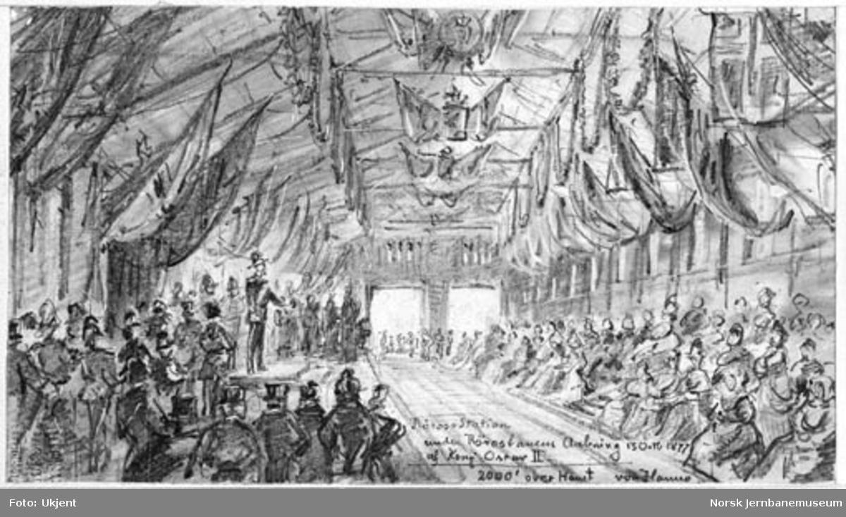 Tegning av von Hanno : Røros Station under Rørosbanens Aabning 13 Octr. 1877 af Kong Oscar