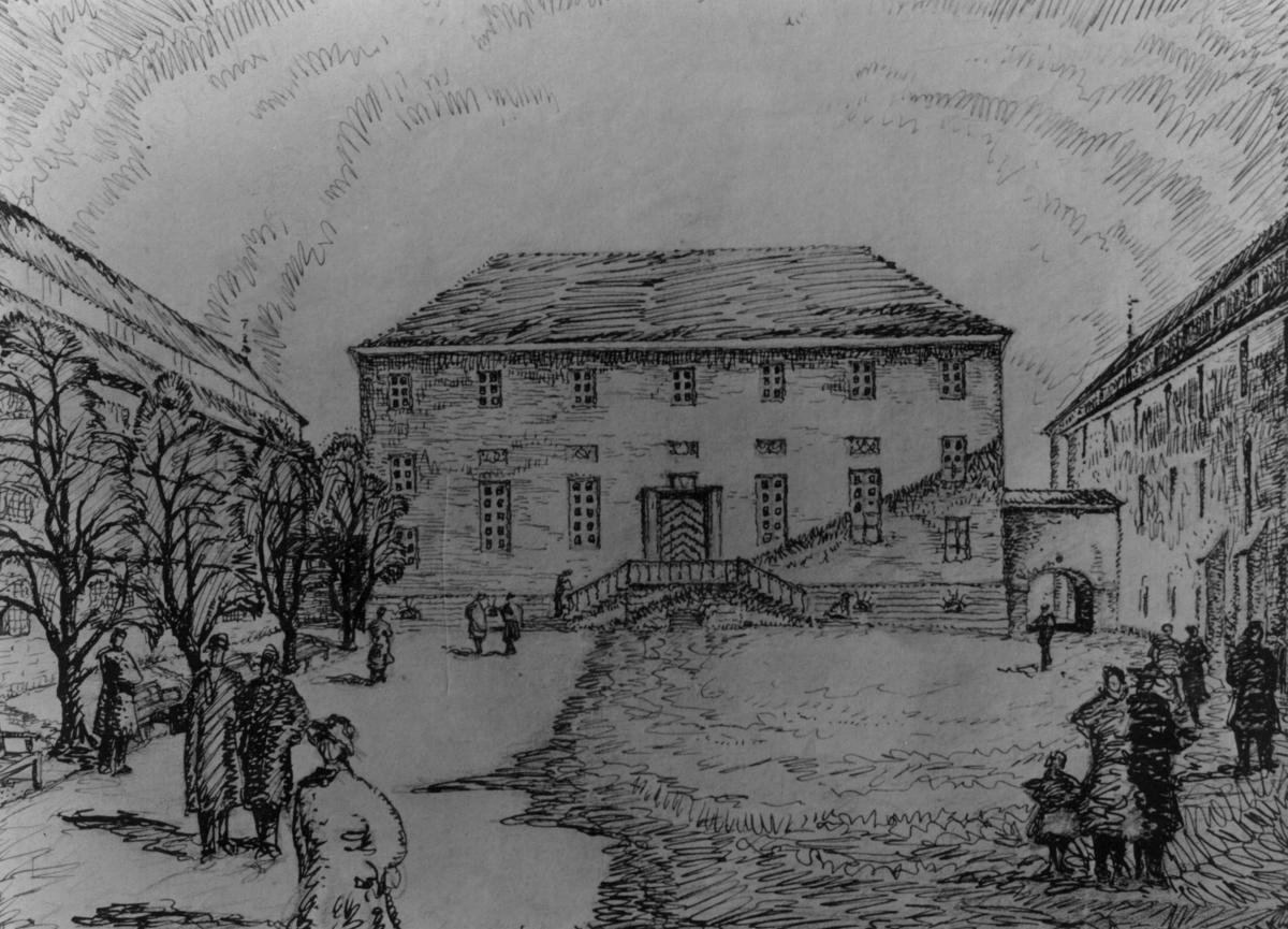 Utkast til museumsbygningene rundt Torget, av arkitektene Bjercke og Eliassen.