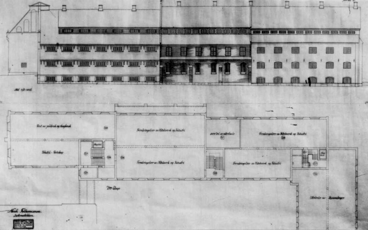 Plantegninger, fra 1925, fra arkitektene Bjercke og Eliassen. Utkast til nye museumsbygninger. Forslag til bygningen for systematisk samling.