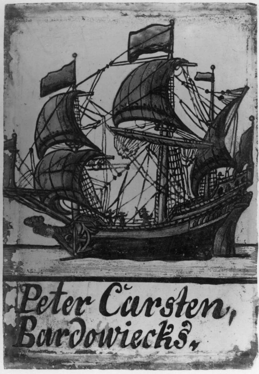 Malt glassrute: Peter Carsten Bardowiecks m. båt