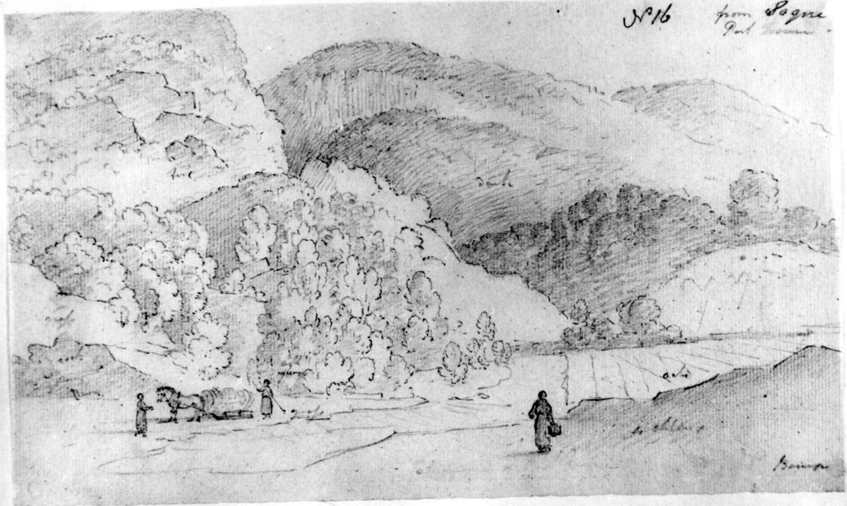 """SøgneFra skissealbum av John W. Edy, """"Drawings Norway 1800""""."""