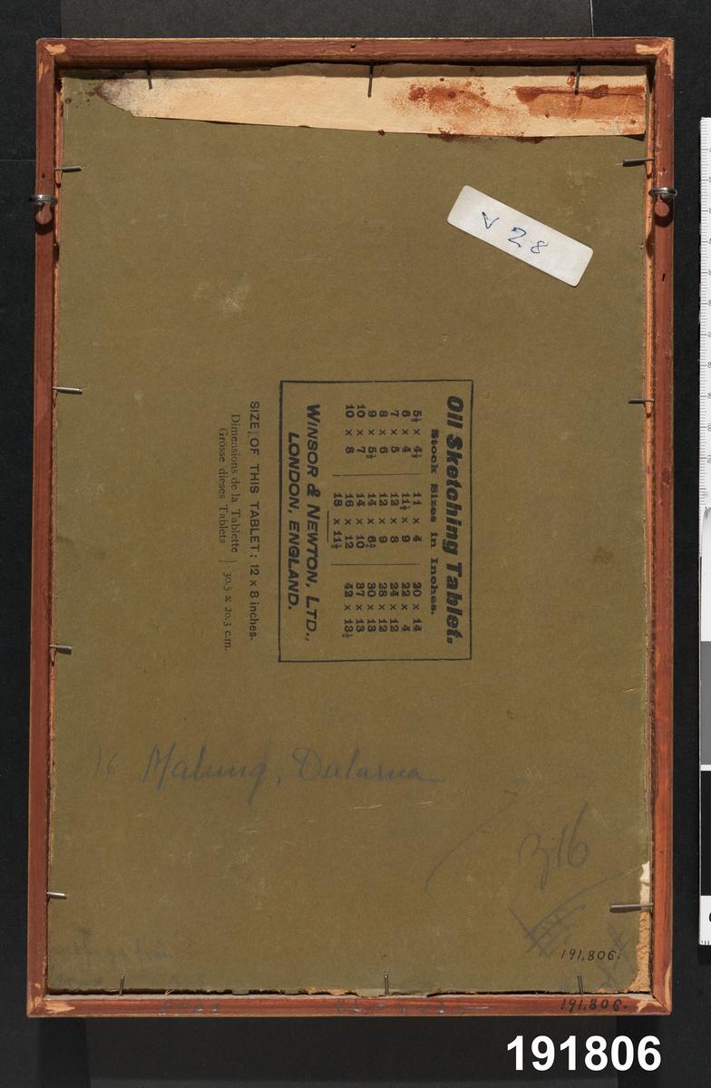 """Huvudliggaren: """"Dräkt för brudpiga , Malungs sn., Dalarna. Oljemålning på duk, panneau, av E. v. Walterstorff, år 1909. I smal förgylld ram. O."""""""