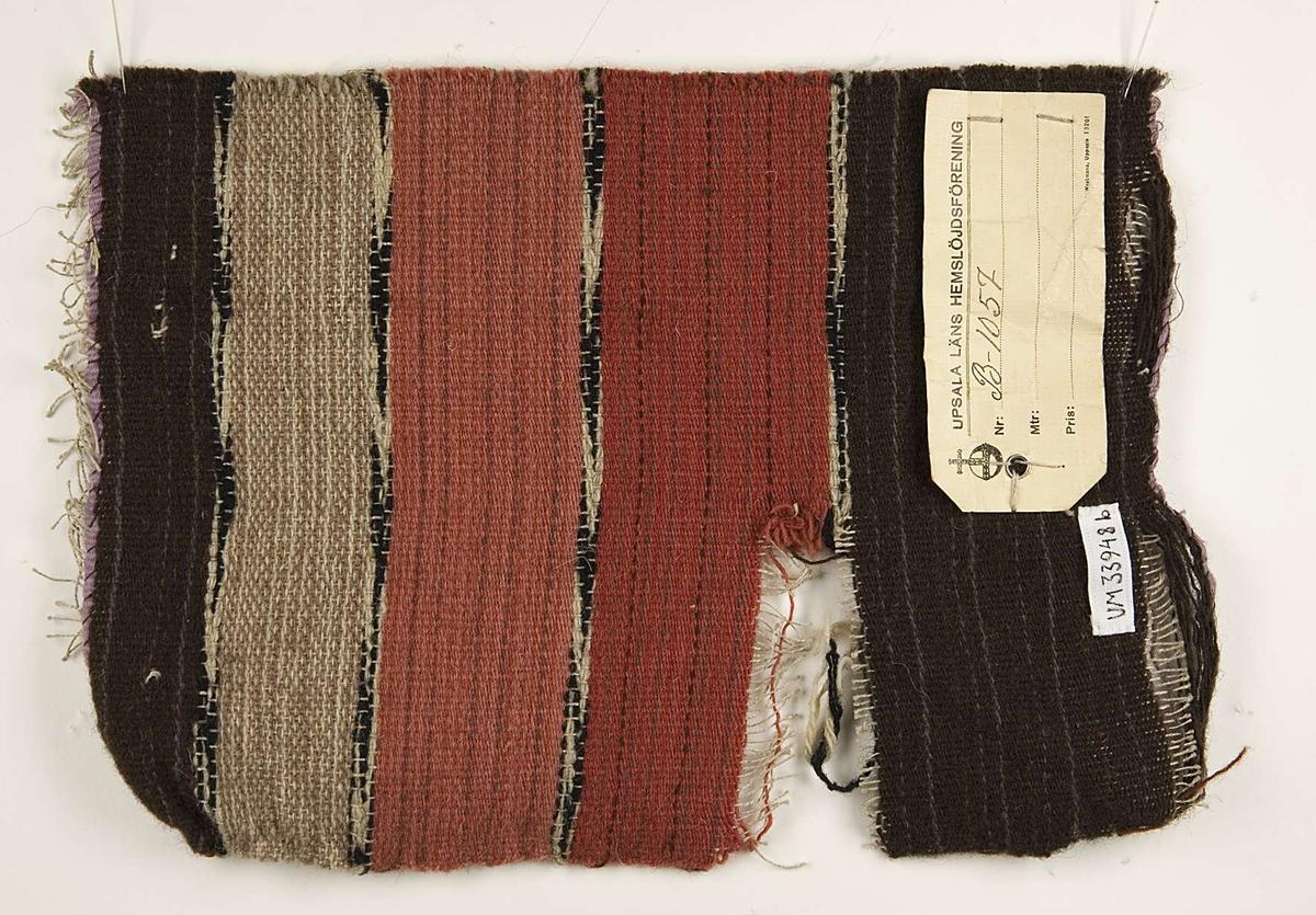 Vävprov av skoklostertyg. Vävprovet är randigt i olika nyanser brunt, rött, vitt och svart och det är vävt i tuskaft av ull och lin. Vävprovet är märkt B-1057.