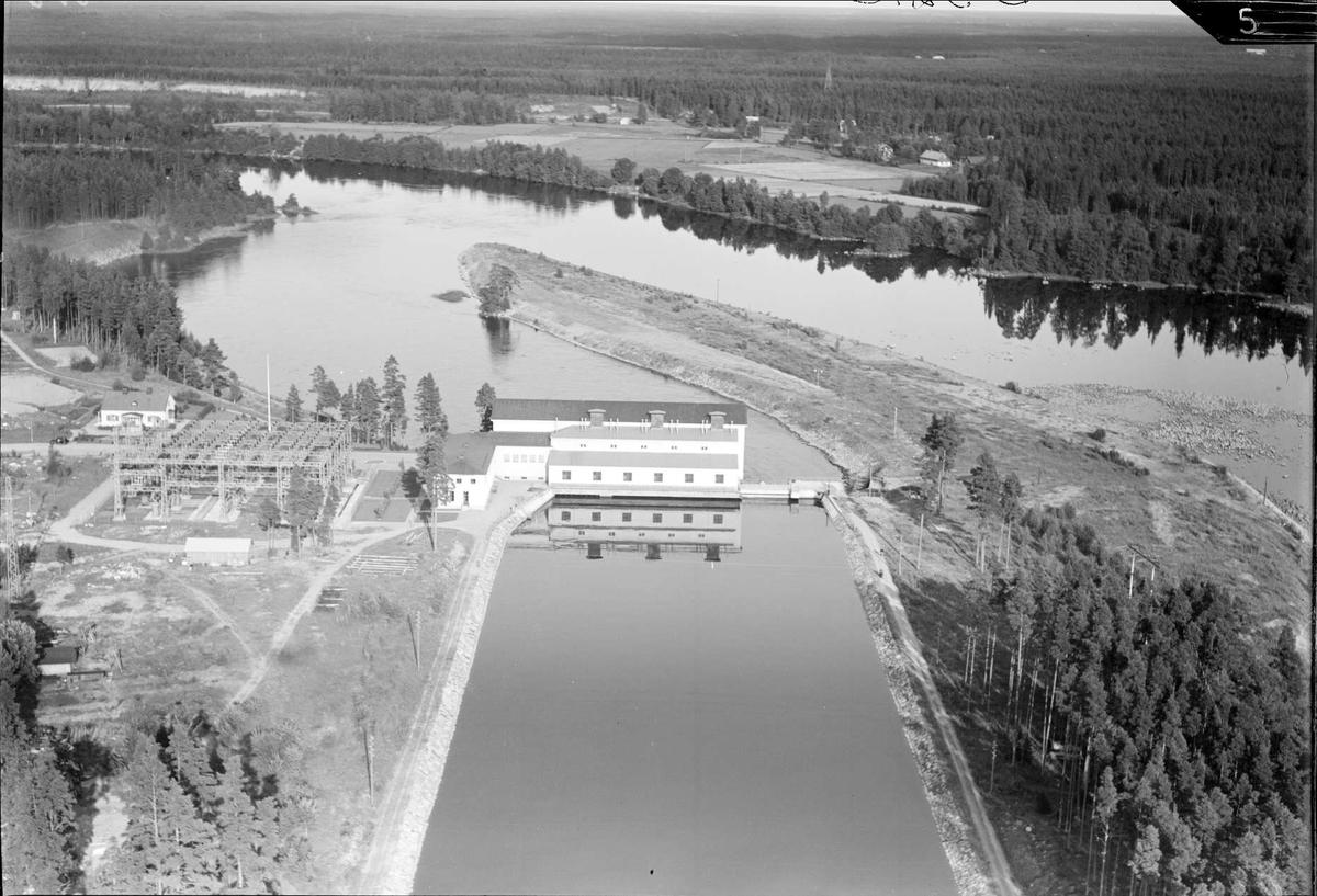 Flygfoto över Lanforsens kraftverk, Älvkarleö, Älvkarleby socken, Uppland 1936