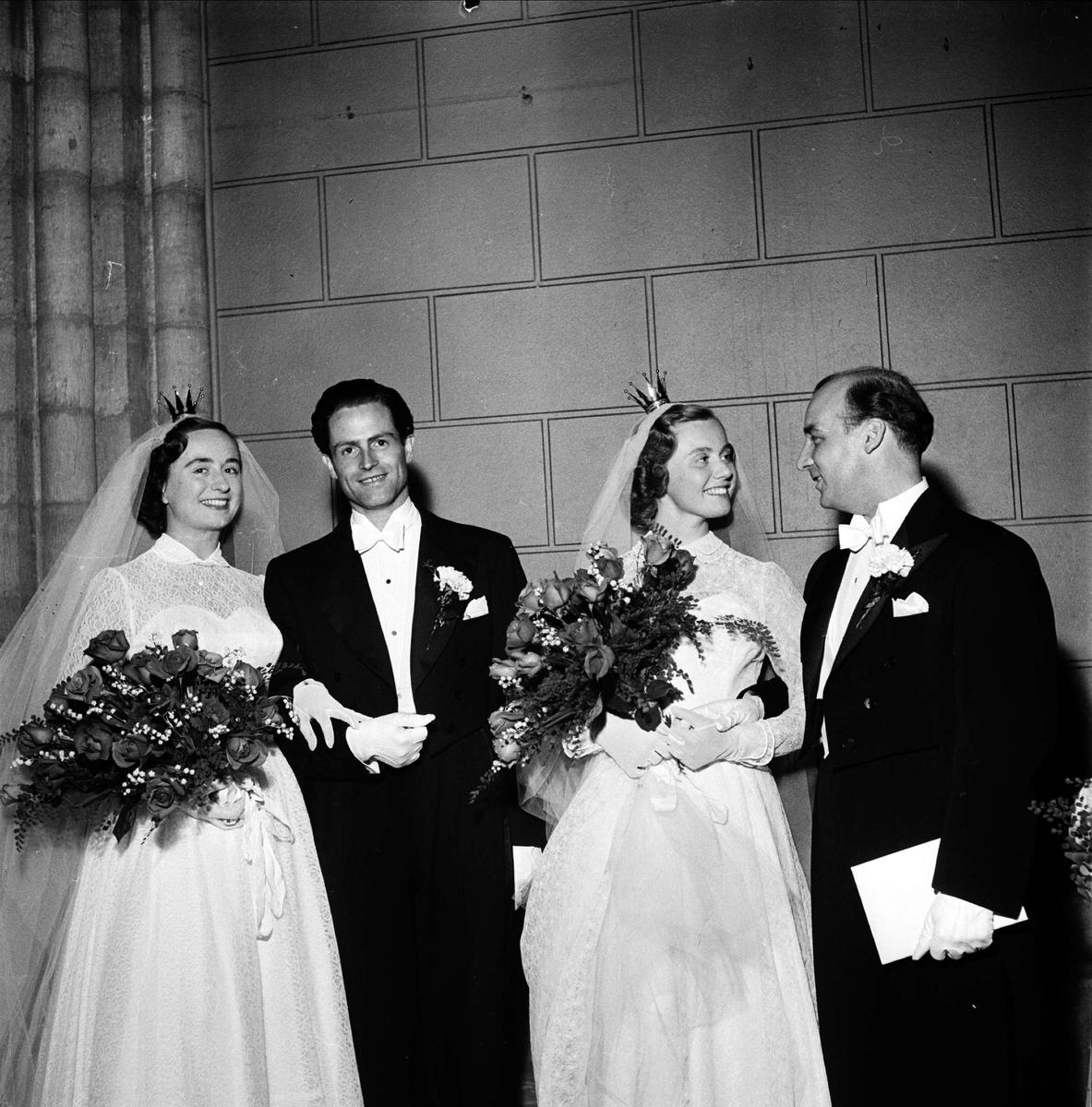 Bröllop - dubbelbröllop i Uppsala domkyrka, Wiberg, september 1952