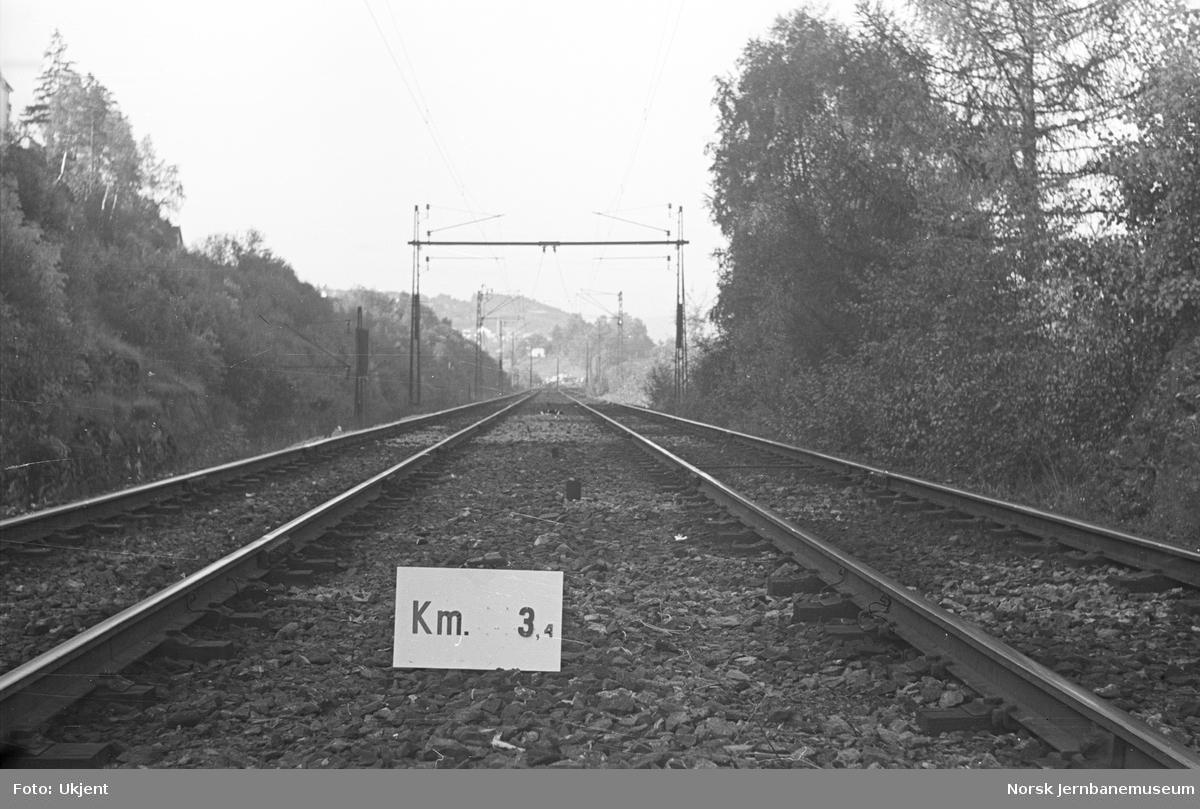 Hovedbanen : linjeføring km 3,4
