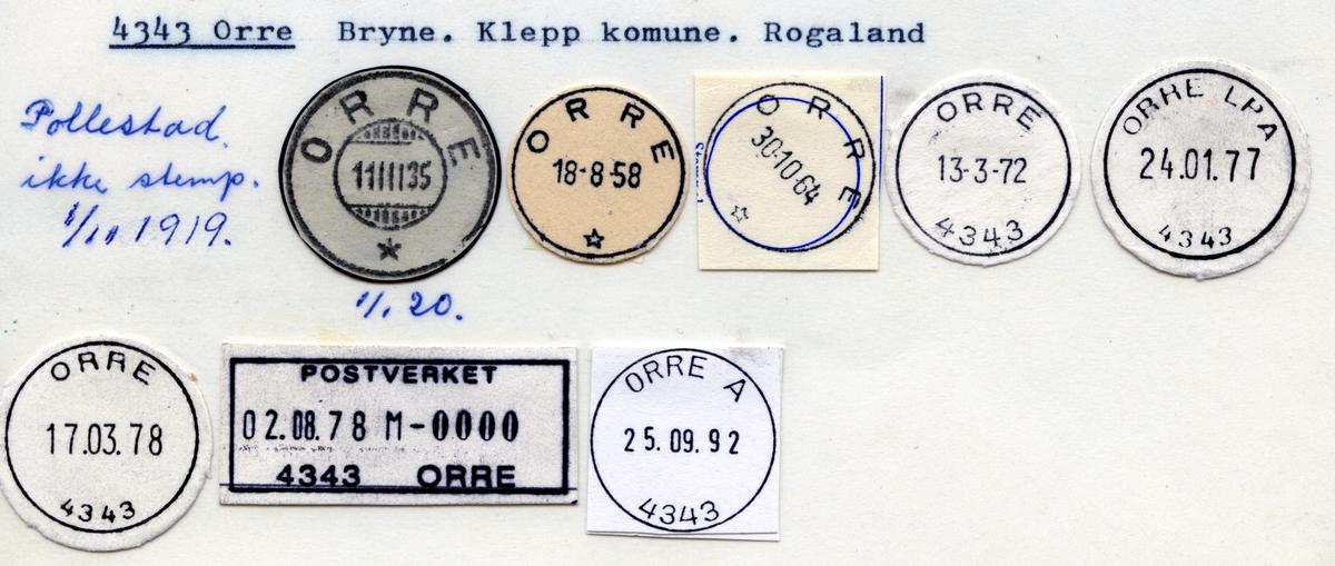 Stempelkatalog  4343 Orre, Klepp kommune, Rogaland