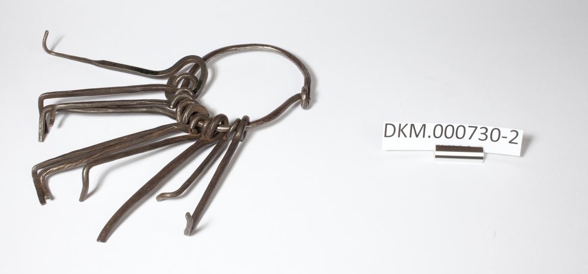 Metallring med 11 dirknøkler. Disse består av en metallstang med dirk i den ene enden og rund krok i andre enden slik at de kan henge i nøkkelknippet.