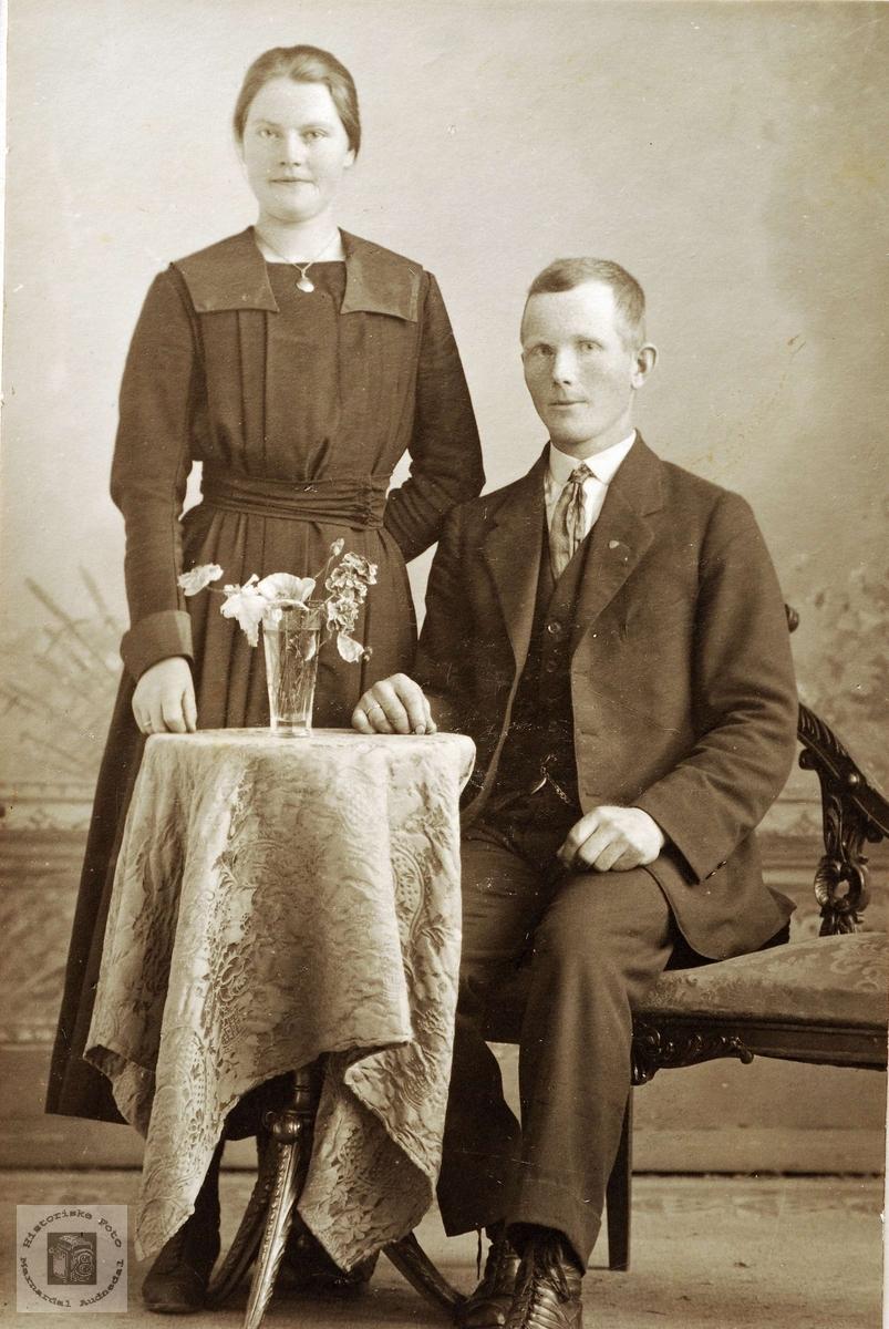Portrett av ekteparet Guri og Fredrik Bransdal. Grindheim Audnedal.