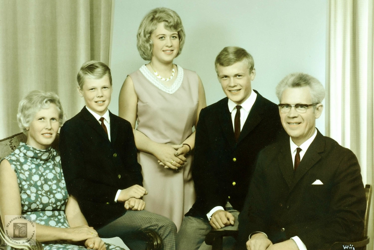 Bilde av familien Vasland. Grindheim Audnedal.