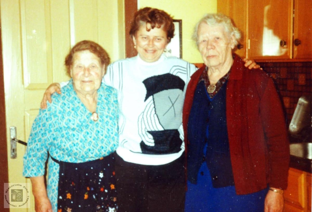 Margit med tanter på Flottorp. Audnedal.