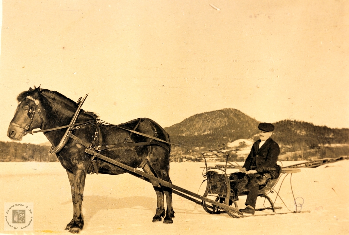 Endre Refsnes med hest og spisslede på Øydnavannet. Audnedal