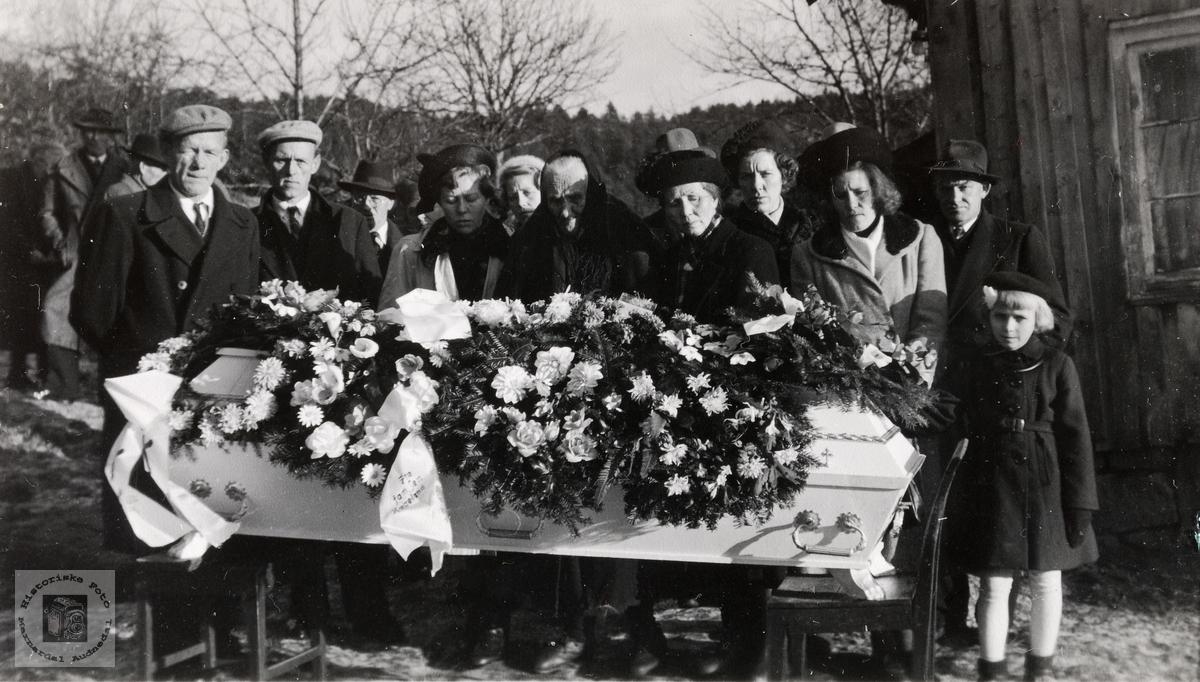 Begravelsen til Abraham Barstad. Konsmo Audnedal.