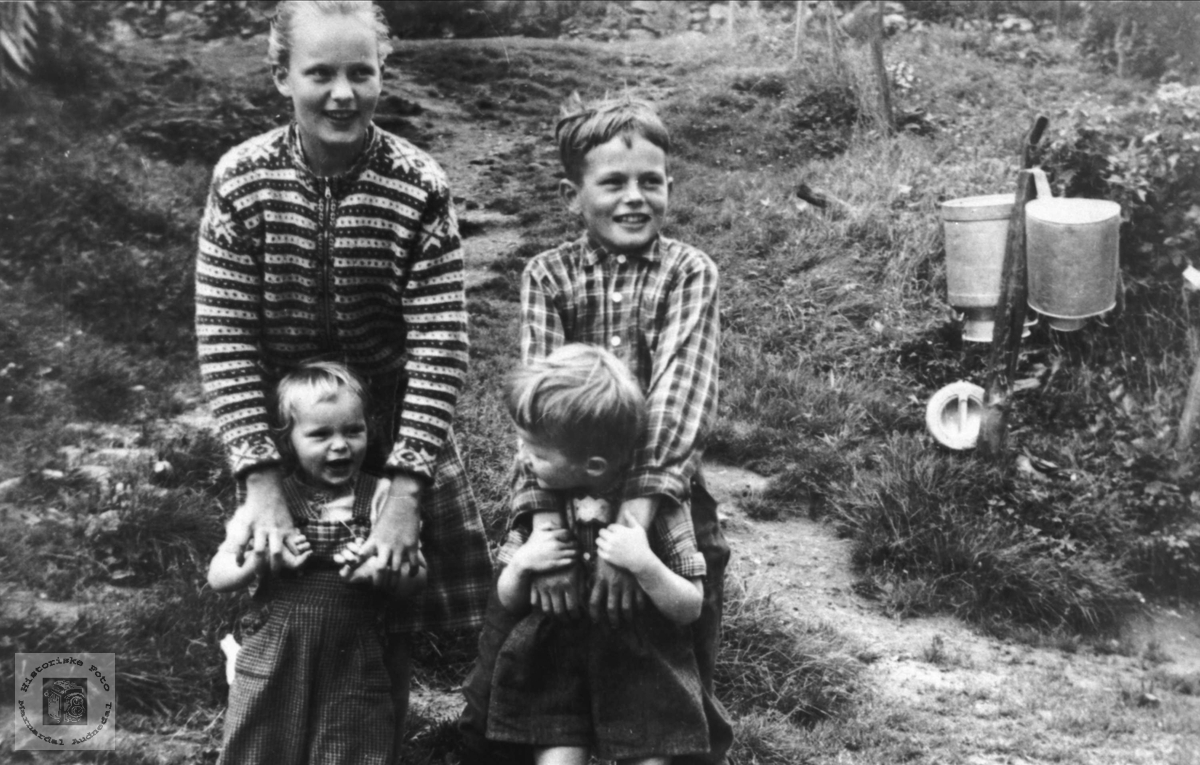 Søsknene Gerd Kristin, Nils, Torkild og Kåre Årnes.