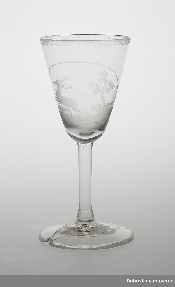 Ur handskrivna katalogen 1957-1958: Vinglas 17,5 cm foten lagad Mynningsdiamet.: 7,6 cm. Vitt glas m. mönster, springande hjort. foten lagad; för övrigt är föremålet helt.