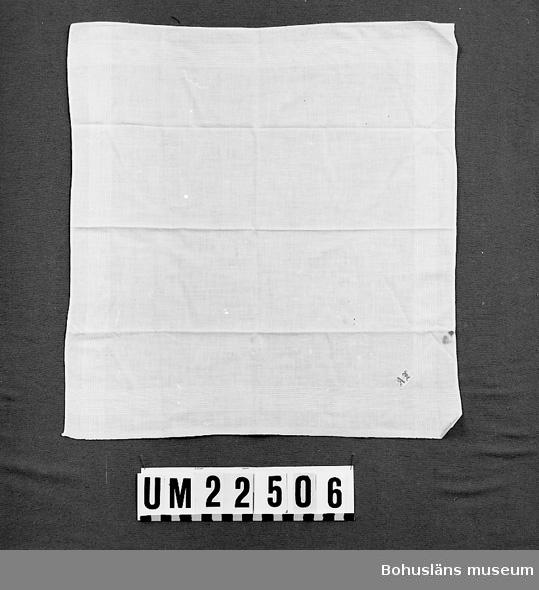"""594 Landskap BOHUSLÄN  Invävda vita linjer längs kanterna. Påsytt vävt monogram i rött: """"AJ"""", antingen Alfred, Augusta eller Agnes Johansson. Tre små hål i ena sidan, rostfläckar.  UMFF 112:9"""