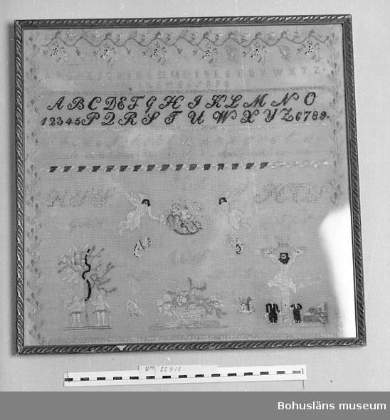 """Tuskaftvävt bomullstyg broderat i korsstygn och petit points med silke. Upptill en blomsterslinga, längs kanterna bladslingor. Innanför blom/ bladslingorna överst siffror och alfabeten i tre olika stilar, underst små motiv: Adam och Eva, Kristus på korset och präster, änglar, blomsterkorgar, ymnighetshorn, hus. Mitt på märkduken och bland de små mönstren flera monogram. De största är HSS, HCS, mindre EES, AOS, GAS, ILS, AHS, EIS. Längre upp står """"gamalös (?) de 25 Juli 1846 WLY Sophia wilhelmina swenson"""". Troligen är detta tillverkarens namn. Färger i broderiet är vitt, beige, olika nyanser ljusgrönt och -brunt, blåtonat rött, gult, blått, svart. Enstaka stygn är sydda med ullgarn. Med glas och smal guldfärgad ram. Några små hål och bristningar. Bottenväven mörknad. Silket blekt. Skada på ramen nertill.  Ur punktnummerkatalogen 1958-1976: Regissör Hugo Bolander, Hornsg. 32 Sholm"""
