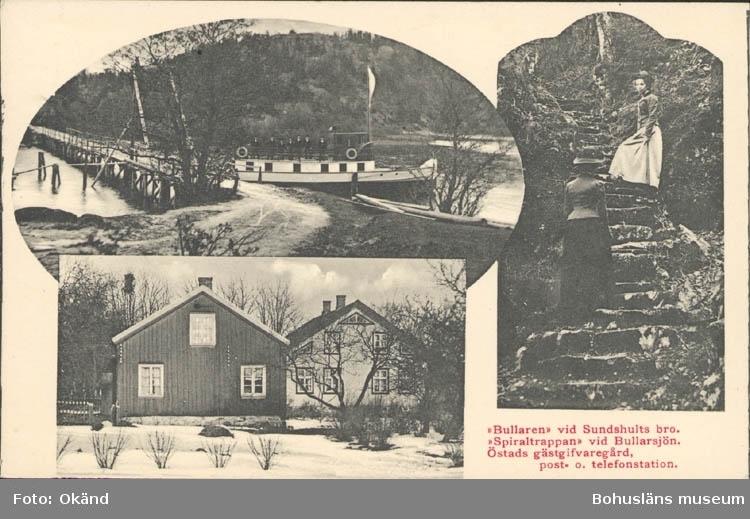 """Tryckt text på kortet: """"Bullaren"""" vid Sundshults bro.""""Spiraltrappan"""" vid Bullarsjön. Östads gästgifvaregård, post o telefonstation."""""""