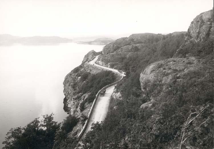 """Noterat på kortet: """"Uddevalla."""" """"Gustafsbergsvägen."""" """"Foto (F5) Dan Samuelsson 1924. Köpt av dens. Dec. 1958."""""""